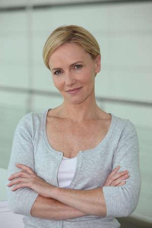 short hair: Portrait of confident blond woman Stock Photo