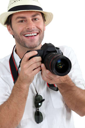 man 40 50: Photographer Stock Photo