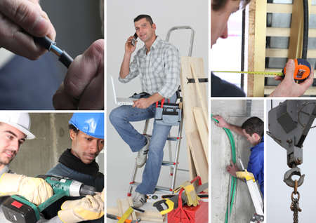 building tool: Interior building work themed collage Stock Photo