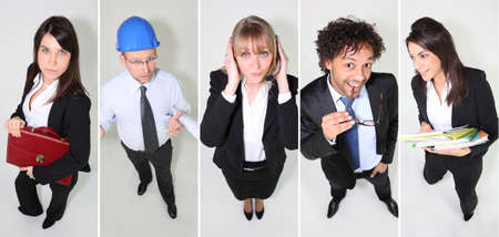 promoter: portraits of workers Stock Photo