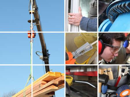 crane parts: Collage de una obra de construcci�n y materiales de construcci�n