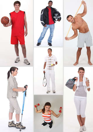 Collage of athletic people photo