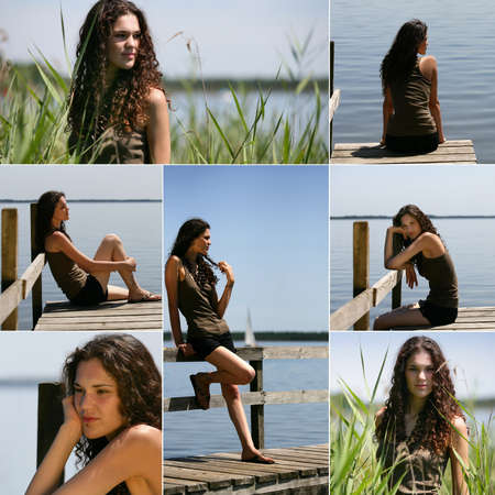 snapshots of beautiful brunette with curly hair photo