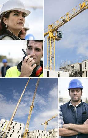 veiligheid bouw: Montage van een team van bouwvakkers Stockfoto