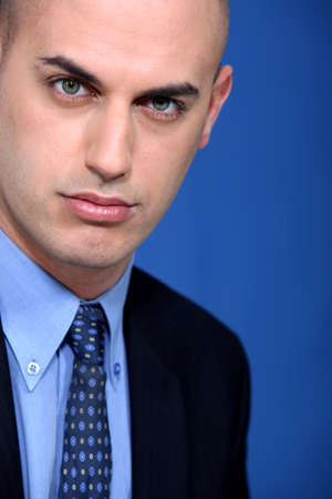 presumptuous: Bald young businessman