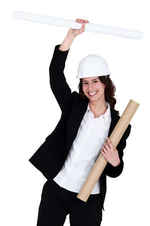 Happy female architect Stock Photo - 11674344