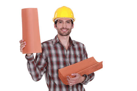 trussing: A roofer. Stock Photo