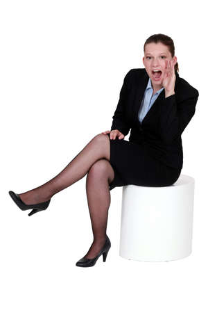 woman in a suit shouting photo