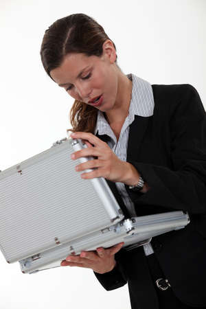 cosa: Woman looking in a case Stock Photo