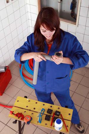 gimmick: repair girl preparing her tools
