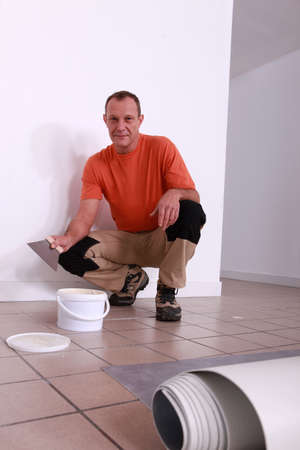 Fitting a carpet Stock Photo - 11754896