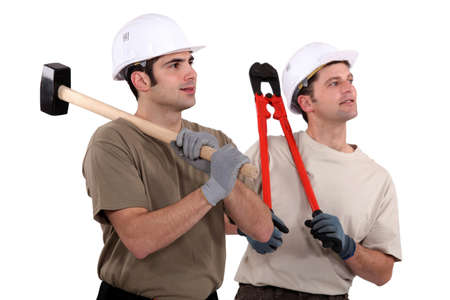 Two manual workers stood together photo