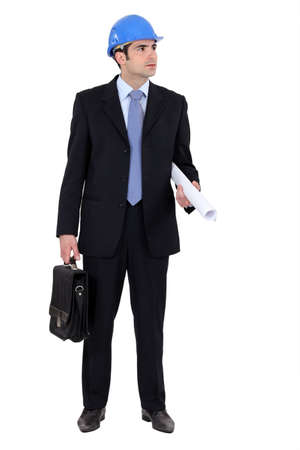 business briefcase: full-body picture of young architect