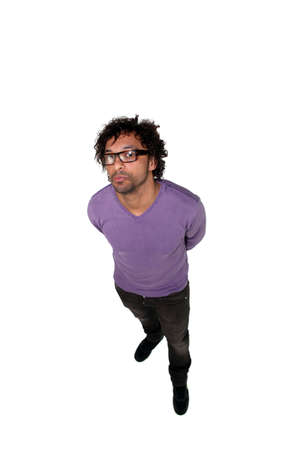 top clothing: Full length studio shot of a man in glasses taken from above Stock Photo