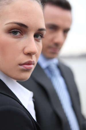 emotionless: Close-up shot of business professionals