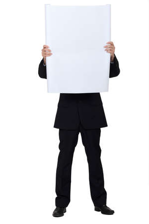 Man hidden behind a white panel for message Stock Photo - 11754197