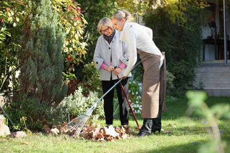 handicapped person: mother and daughter gardening