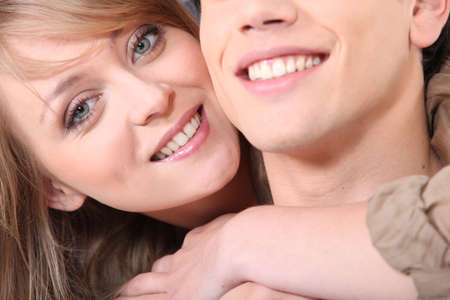 man face close up: Close-up shot of happy couple