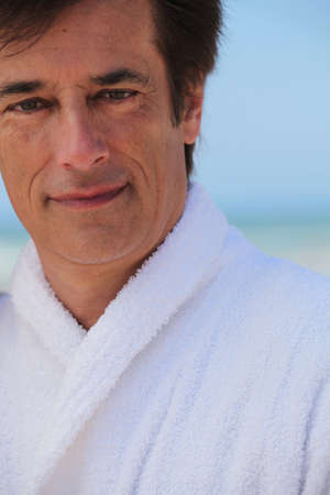 40 years old man: A middle aged man at the beach. Stock Photo