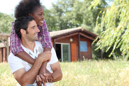 Couple on holiday in countryside photo