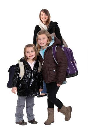 babysitting: Children going to school