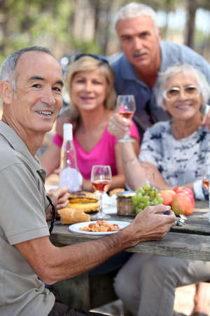 portrait of older people at picnic Stock Photo - 11755803