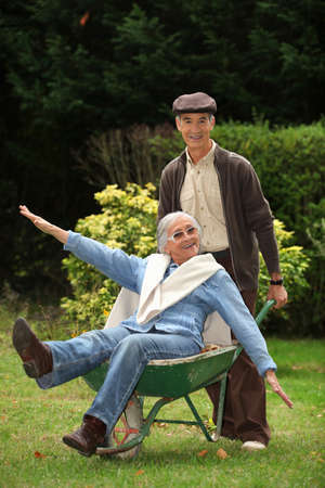 funny grandparents in the garden photo