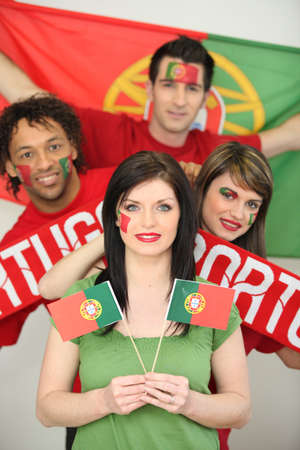 supporters: Group of friends supporting the Portuguese football team Stock Photo