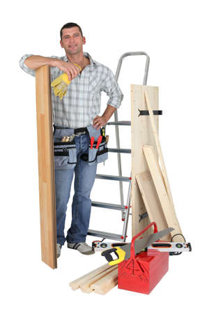 woodworker: carpenter and his equipment