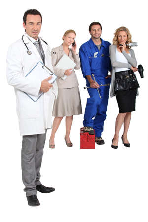 md: Doctor, mechanic, MD and secretary. Stock Photo