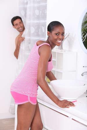 couple bathroom: couple in the bathroom