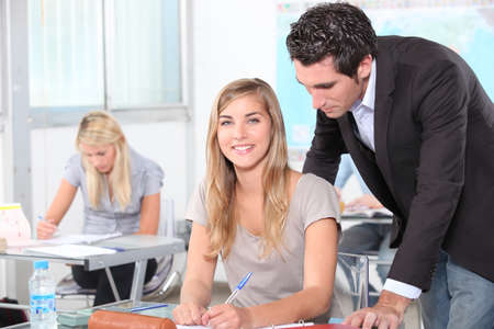18 19: students in classroom Stock Photo