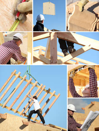 supervise: Construction of a wooden house Stock Photo