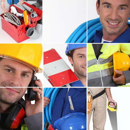 high visibility: Mosaic of plumber with equipment