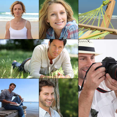 Mosaic of various outdoor activities photo