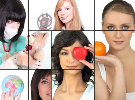 health collage: Mosaic of women holding various objects