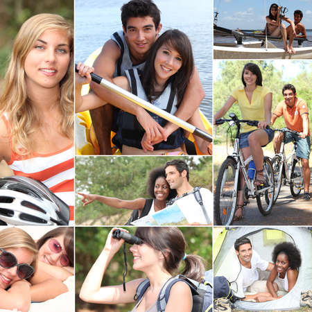 activity holiday: Outdoors activities in summertime Stock Photo