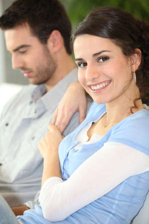 newlyweds: young couple at home
