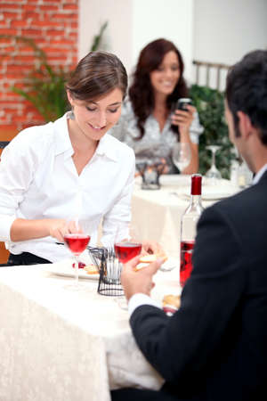 dinner date: Couple eating in a restaurant