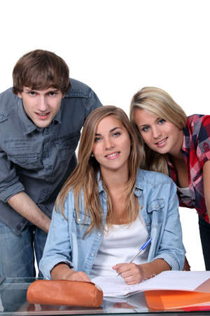 18 19: Three happy college students