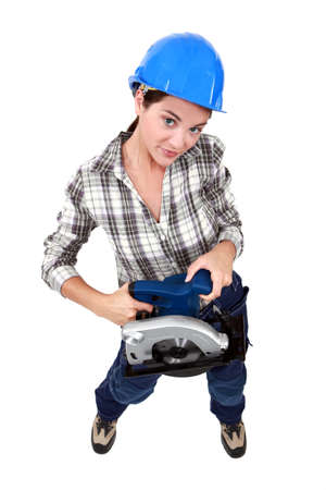 buzz: Woman holding circular saw