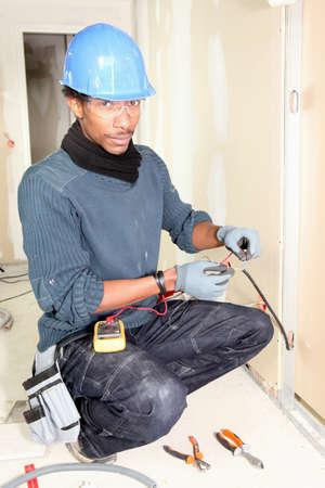 alicates: electricista de tomar medidas Foto de archivo