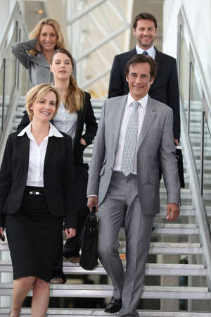 portrait of a business team in stairs photo