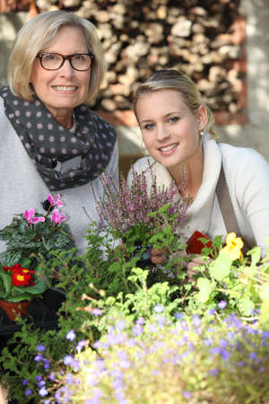 Mother and daughter gardening photo