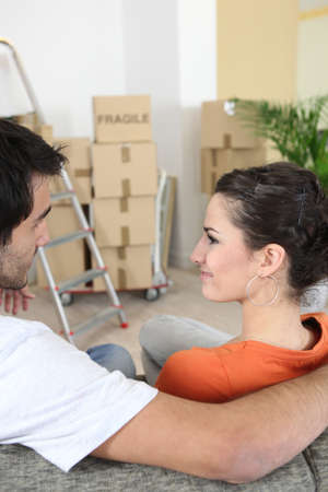 property ladder: Young couple in new apartment Stock Photo