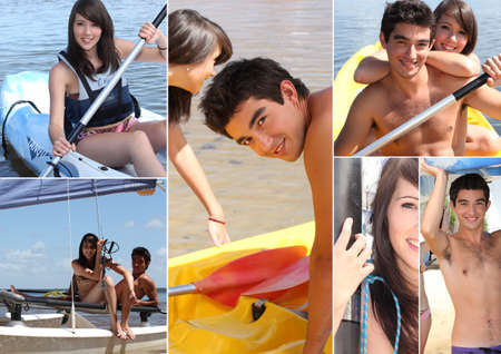 Watersports themed collage photo