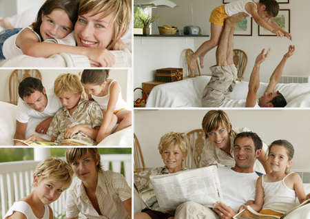 Parents with children at home, photo-montage photo