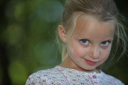 shy blonde little girl photo