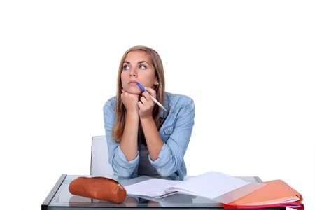 dissertation: Female student doing coursework