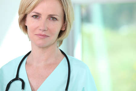 hospice: Closeup of a calm and collected female medic